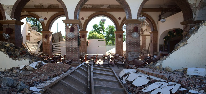 The Immaculate Concepcion Catholic church lies in ruins after an overnight earthquake in Guayanilla, Puerto Rico.
