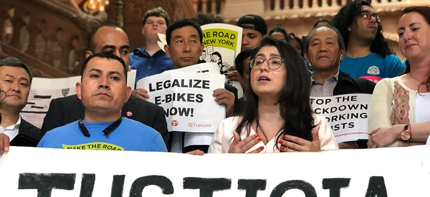 State Sen. Jessica Ramos at a rally advocating for the legalization of e-bike usage in Albany.
