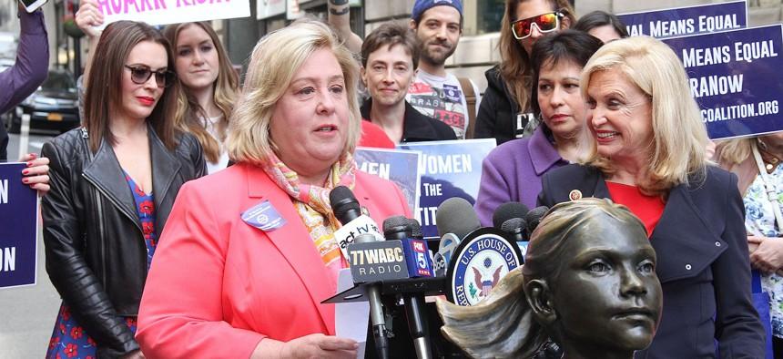 Democratic Assembly Member Rebecca Seawright (left) fought off a challenge from Republican Lou Puliafito.