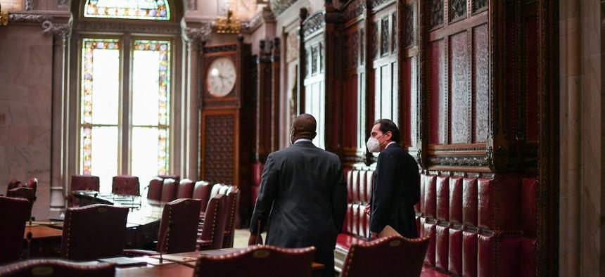NYS Senator Brian Benjamin (l) speaks with NYS Senator Todd Kaminsky on July 21st.