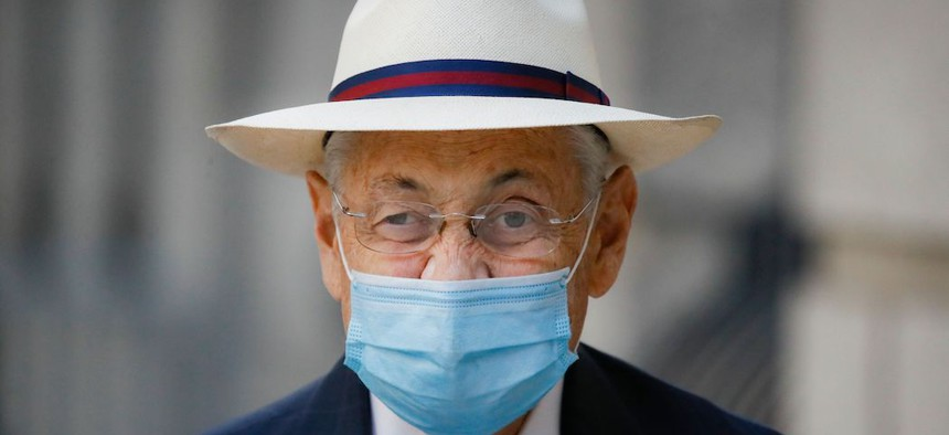 Former New York Assembly Speaker Sheldon Silver leaves U.S. District Court after he was sentenced to 6 1/2 years in prison on July 20, 2020.