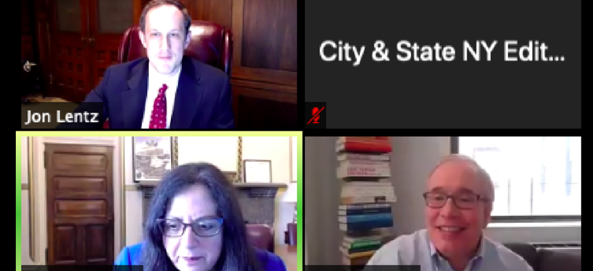 Scott Stringer, Linda Lacewell, and City & State Editor and Chief Jon Lentz during a webinar on Thursday.