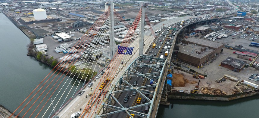 The Kosciuszko Bridge connecting Greenpoint in Brooklyn to Maspeth in Queens.