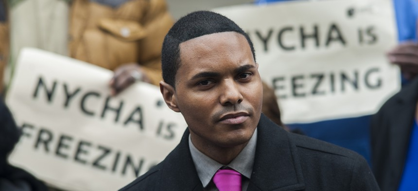 New York City Councilman Richie Torres at a protest by public housing residents