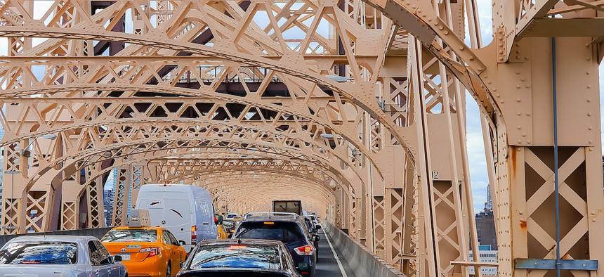 Traffic jam on the Queensboro Bridge.