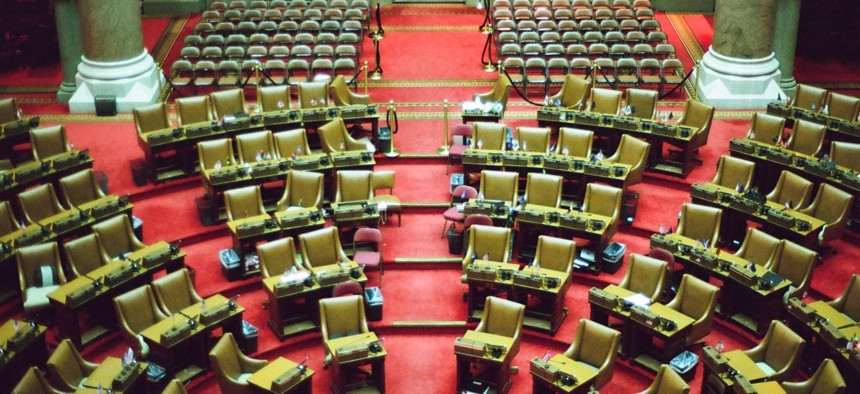 The empty Assembly Chamber in the state Capitol in Albany
