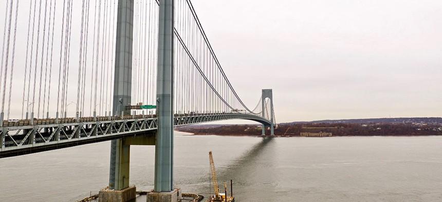 The Verazzano-Narrows Bridge.