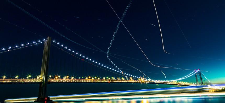 Verrazzano Bridge at night