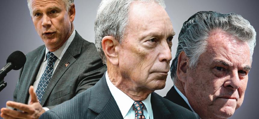 Michael Bloomberg with Peter King and Dan Donovan