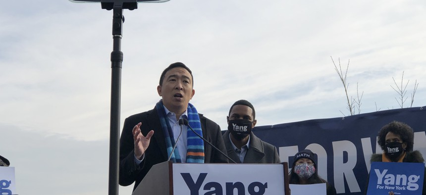 Yang officially launched his campaign Thursday morning,