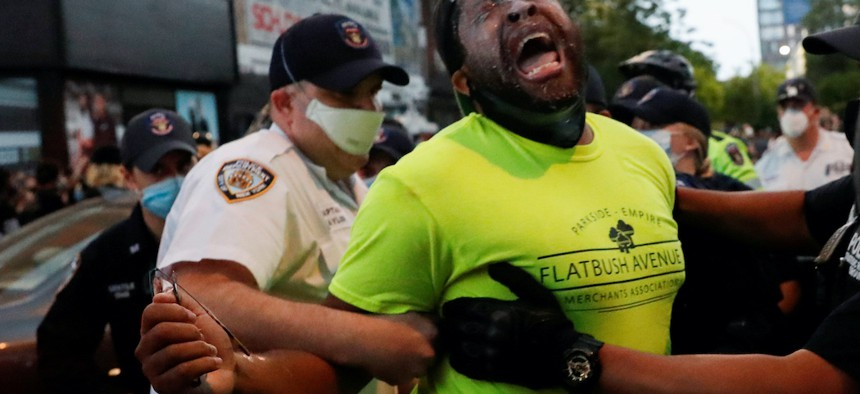 State Senator Zellnor Myrie restrained and pepper-sprayed by NYPD officers at Barclays Center on May 29th.