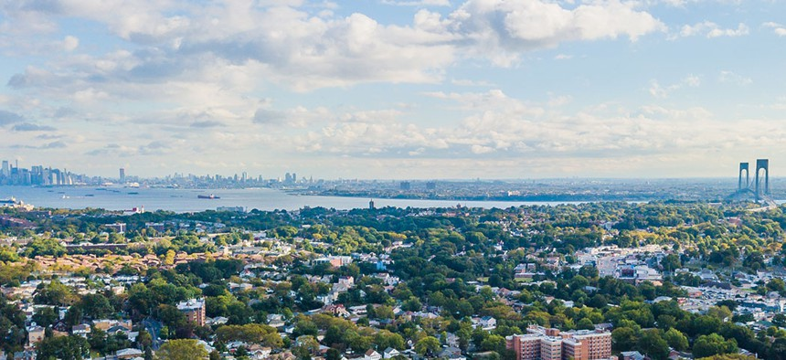 An aerial view of Staten Island.