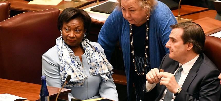 New York Senate Majority Leader Andrea Stewart-Cousins, Sen. Liz Krueger and Sen. Michael Gianaris listen as Senate members speak in favor of legislation to change state legal standards on sexual harassment in Albany.