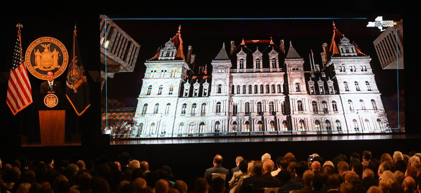 Governor Cuomo in Albany during the State of the State this January.