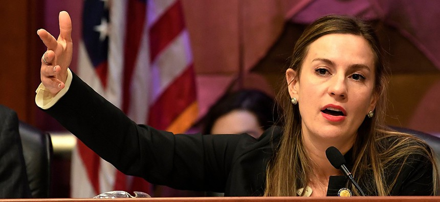 New York Sen. Alessandra Biaggi presides over a public hearing on sexual harassment in the workplace,