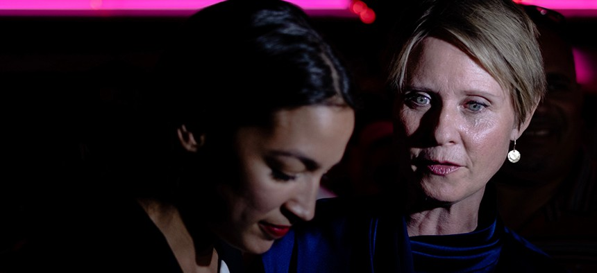 New York gubernatorial candidate Cynthia Nixon visits Alexandria Ocasio-Cortez during her primary victory party in the Bronx.