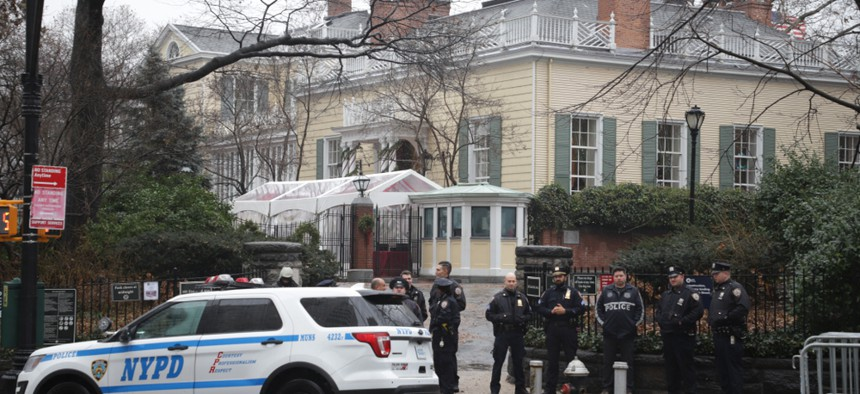 An amazon HQ2 protest outside Gracie Mansion in December