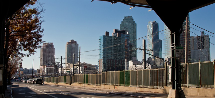 A view of the Long Island City skyline development - the future home of Amazon HQ2 - from under the Queens Boulevard train tracks.