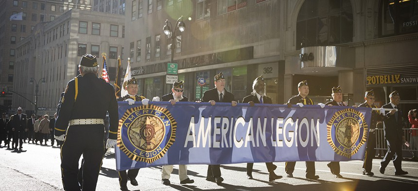 Veterans from the American Legion march in the 2016 Americas Parade up 5th Avenue in Manhattan.