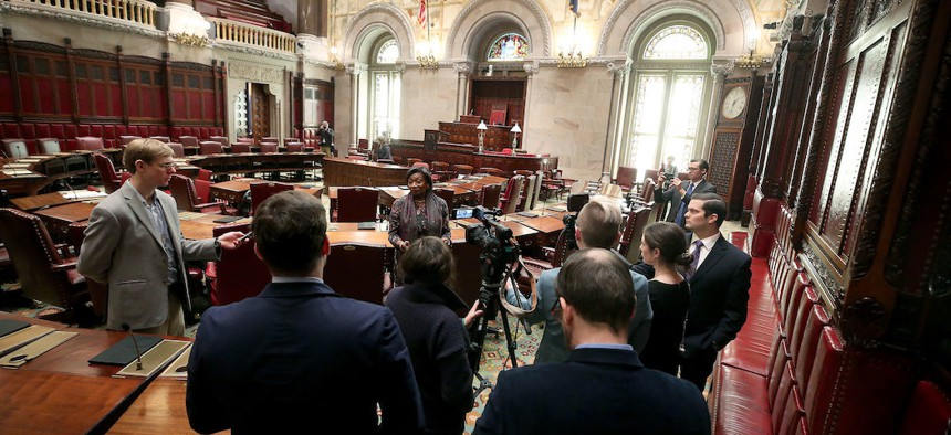 Senate Majority Leader Andrea Stewart-Cousins speaks to the press following session on March 18th.