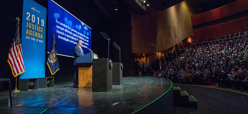 Gov. Andrew Cuomo addresses the crowd while unveiling his proposed 2019-20 executive budget.