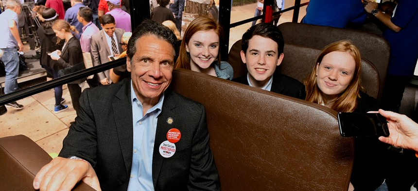 """New York Governor Andrew Cuomo on the """"red flag"""" bus tour"""