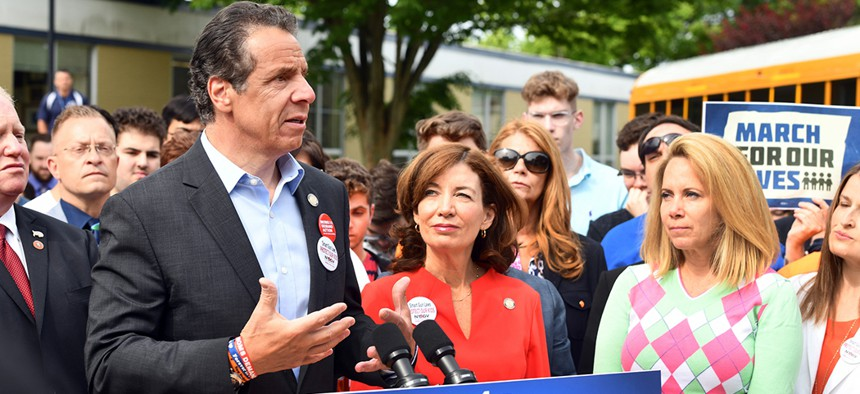 """Gov. Andrew Cuomo speaks in Plainview as part of his statewide bus tour to advance the """"red flag"""" gun protection bill."""