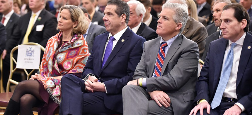 Gov. Andrew Cuomo at a meeting of the Long Island Association in Woodbury, Long Island