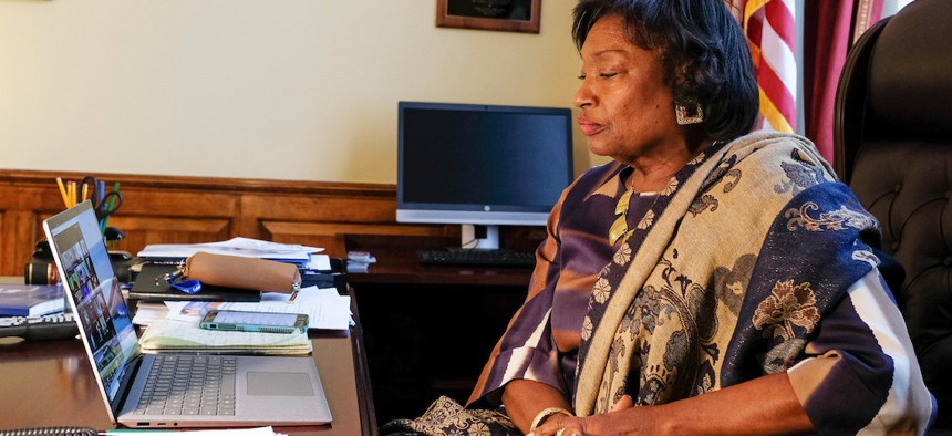 Senate Majority Leader Andrea Stewart-Cousins held a Zoom conference with the Senate Democrats as the state budget moves forward.