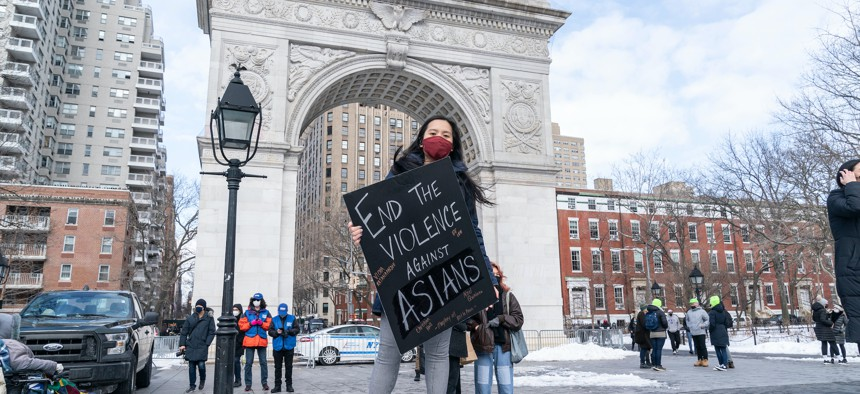 A rally in Washington Square Park on Feb. 20 2021.