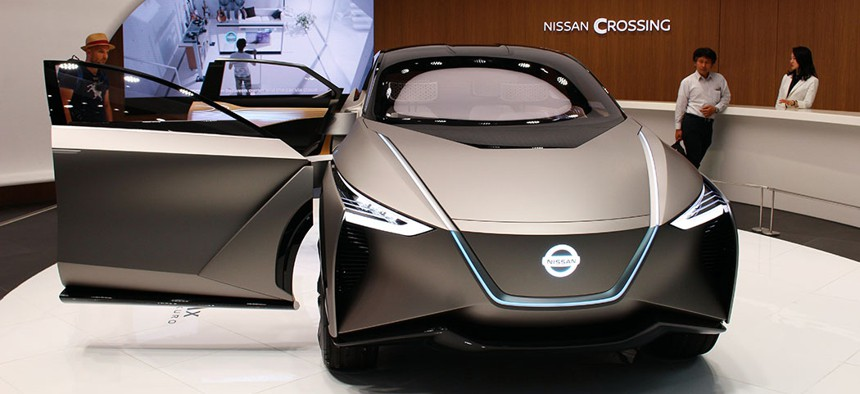The Nissan IMx Kuro electric concept car has an autonomous drive mode.