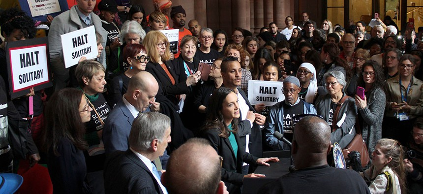 State Sen. Julia Salazar speaks during a criminal justice rally at the state house.
