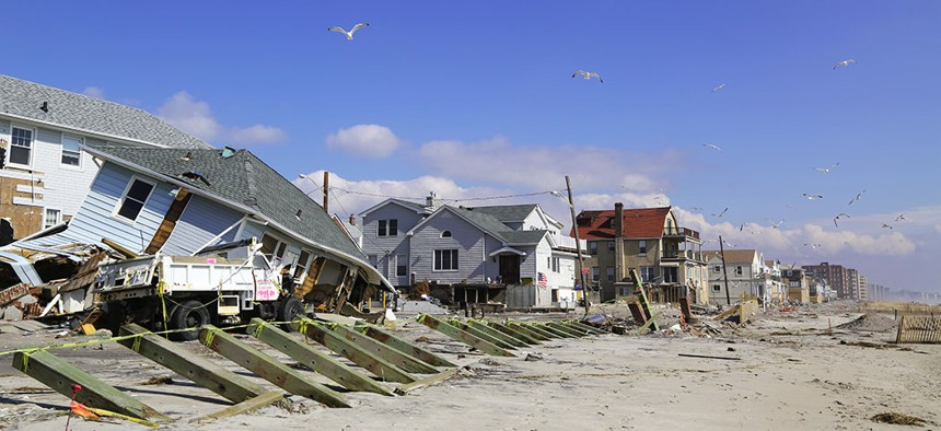 Destroyed houses on Rockaway beach, four months after Hurricane Sandy hit New York.