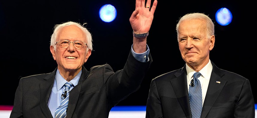 Senator Bernie Sanders and former Vice President Joe Biden, the two Democratic presidential front-runners.