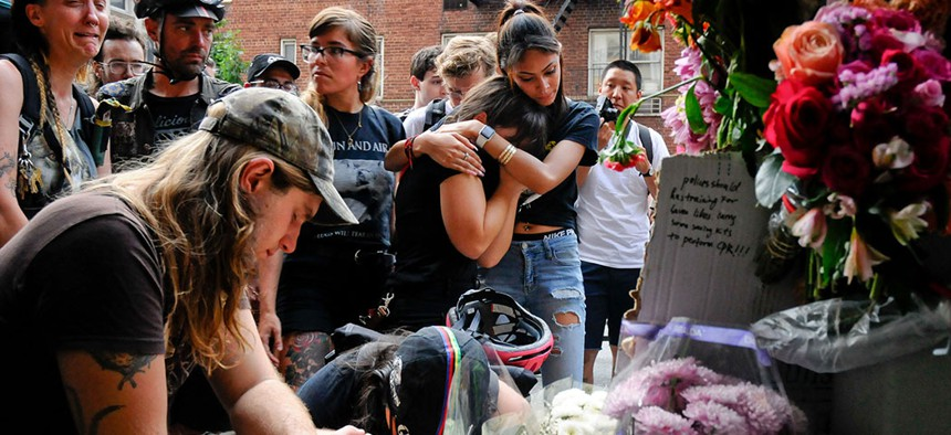 Cyclists mourn the loss of a 33-year-old woman fatally struck by a delivery truck while riding her bicycle on June 24, in New York City.