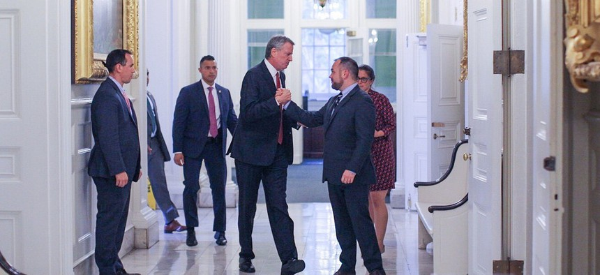 New York City Mayor Bill de Blasio and City Council Speaker Corey Johnson before the budget announcement at City Hall.