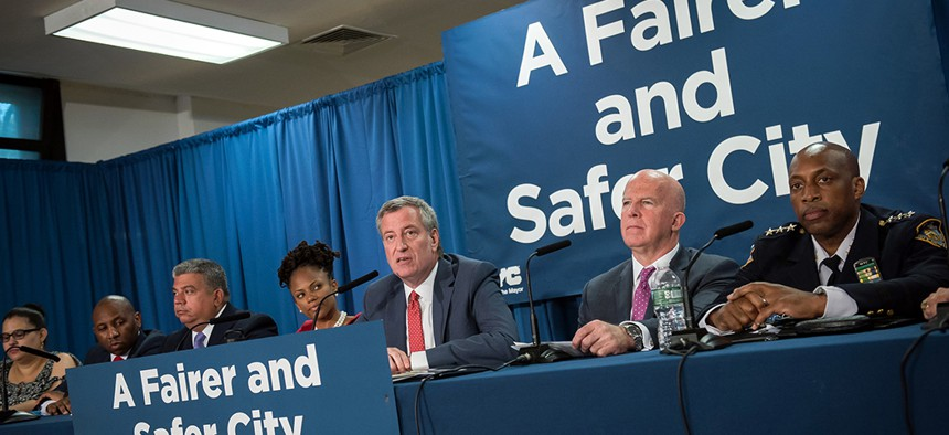 New York City Mayor Bill de Blasio and Police Commissioner James O'Neill announce a new policy to reduce unnecessary marijuana arrests.