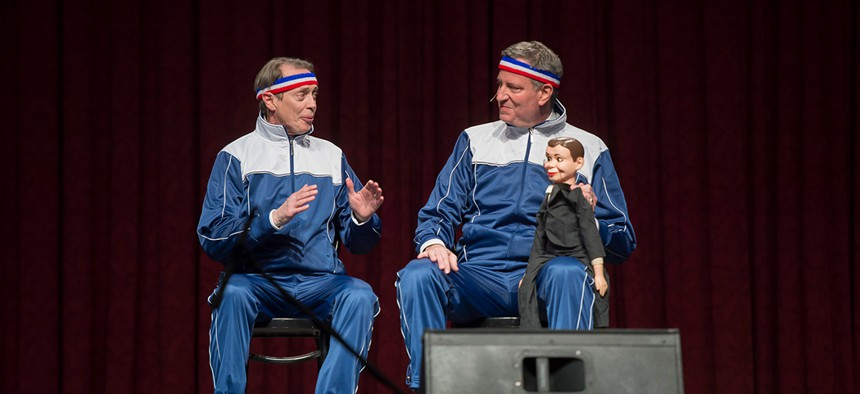 Actor Steve Buscemi and New York City Mayor Bill de Blasio perform at the 2014 Inner Circle Show.