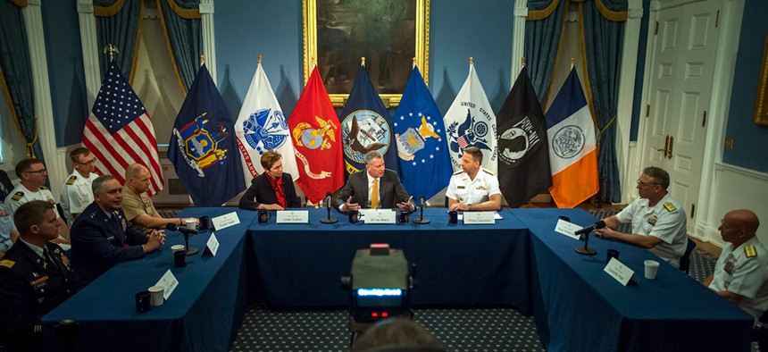 New York City Mayor Bill de Blasio hosts a roundtable with senior military officers.