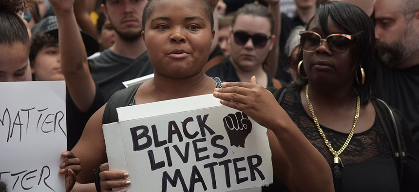 A Black Lives Matter protest in New York City.
