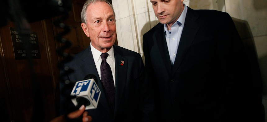 New York City Mayor Michael Bloomberg and Deputy Mayor Howard Wolfson leaving a closed door Republican conference on gay marriage, in 2011.