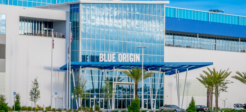 The Blue Origin launch vehicle production facility, founded by Jeff Bezos, is located near the entrance to the Kennedy Space Center Visitor Complex in Florida.