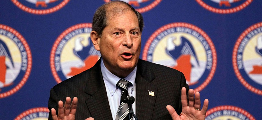 Former Rep. Bob Turner speaking at the New York State Republican Convention in 2012.
