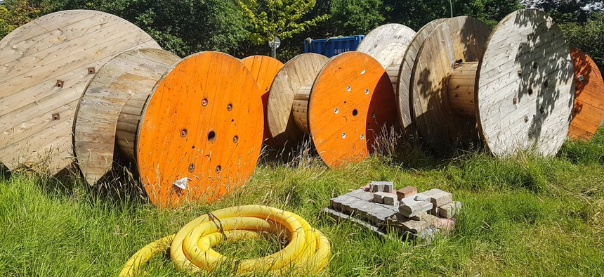 Broadband cable drums.