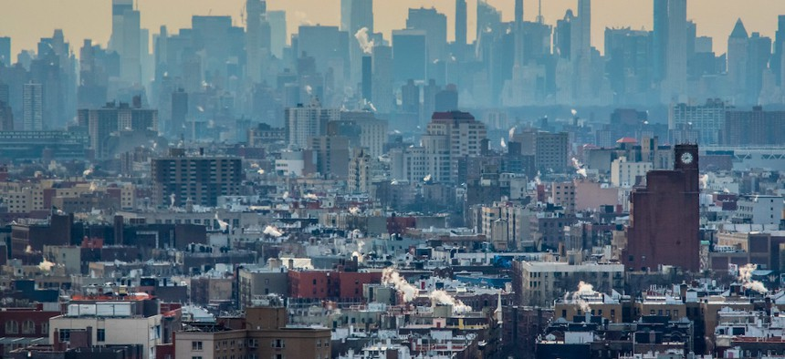 The Bronx and Manhattan skylines.