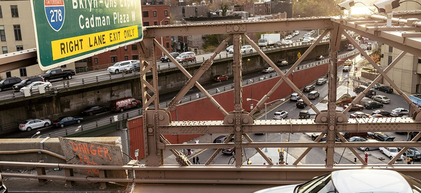 Rush hour traffic on the Brooklyn Bridge.