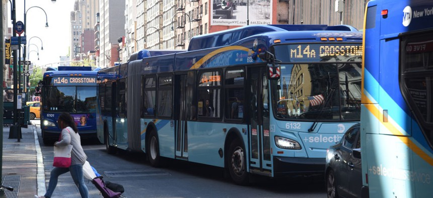 Buses in New York City.