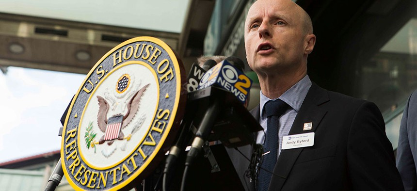 MTA president Andy Byford at a 2018 press conference.