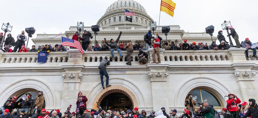 Pro-Trump rioters at the United States Capitol on January 6.