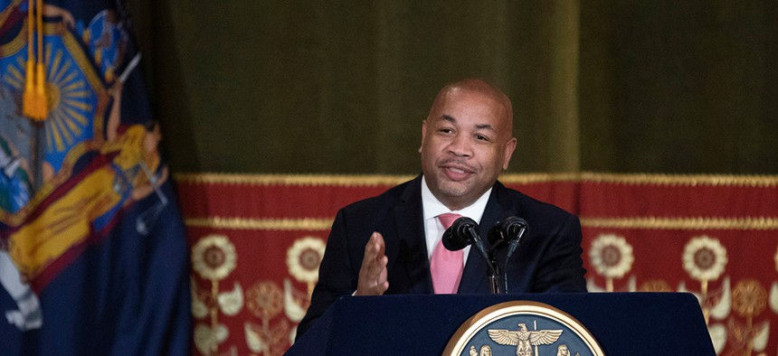 Assembly Speaker Carl Heastie speaks during a ceremony commemorating the signing of Reproductive Health Act legislation.